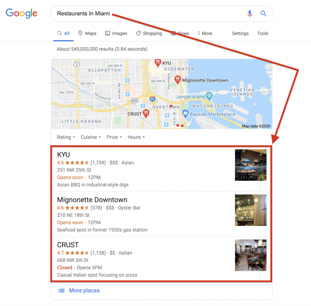 Google My Business Local Packs